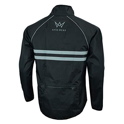 APEXWEAR Mens Cycling Jacket High Visibility Waterproof Running Top Rain Coat S to 2XL (BLACK, LARGE)
