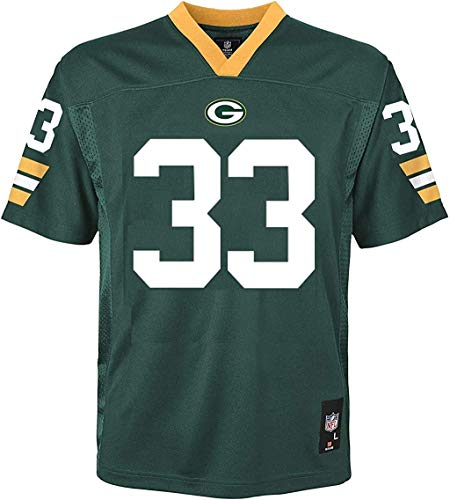 Outerstuff Aaron Jones Green Bay Packers NFL Boys Youth 8-20 Green Home Mid-Tier Jersey (Youth Large 14-16)