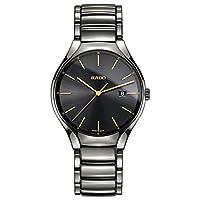 Rado Men's TRUE 40mm Grey Ceramic Band & Case Sapphire Crystal Quartz Black Dial Analog Watch R27239152