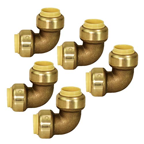 90 Degree Elbow Pipe Fittings Push to Connect Pex Copper, CPVC, 1/2 Inch, Brass Pack of 5, 5 Count - Supply Giant VQF9012-5