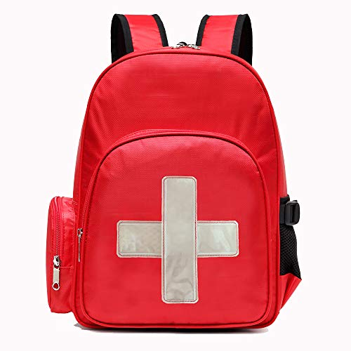 Gatycallaty First Aid Bag Empty Medical Backpack for Emergency Bags First Responder Trauma Treatment with 13 Pockets for School Outdoor Hiking Travel Field Trips Camping Daycare (Red)