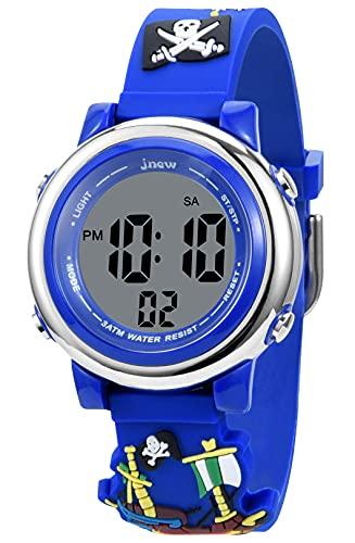 KZKR - Reloj digital para niño con 7 colores y pantalla LED retroiluminada, alarma, cronómetro, fecha 12/24 horas, silicona, correa azul, diseño pirata