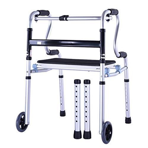 Silla de Ruedas Wheelchair Sillas de Ruedas Caminante Discapacitado Plegable Con Tabla De Baño, Caminador Plegable Mayor Con Andador De Rehabilitación De La Polea Del Cinturón De Seguridad, Altura Aju ⭐