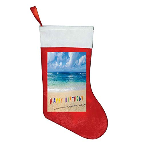 Birthday christmas compression socks women Happy Birthday Sign on the Tropical Beach in Hawaii Exotic Sweet Surprise Theme Christmas Gifts for Women Multicolor W12 x L16Inch