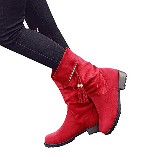 Wadonerful Womens Retro Ankle Boots Round Toe Chunky Low Heel Shoes Winter Classic Tassel Suede Mid-Boots Snow Booties 55 Red