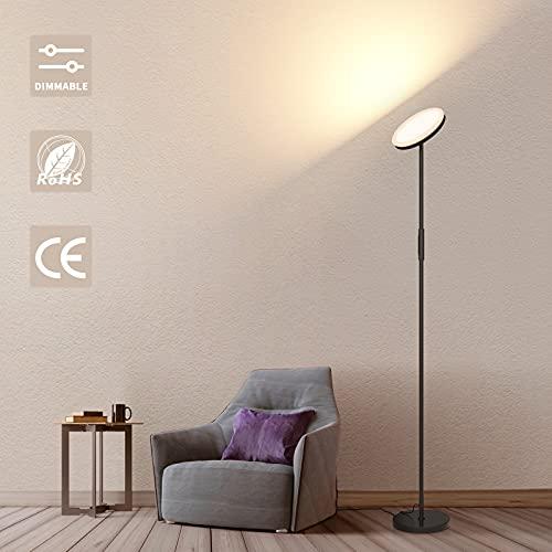 Stehlampe Led Dimmbar, Deckenfluter Wohnzimmer Stehleuchte, Stufenlos Dimmbar Stehlampe Standleuchte mit Fernbedienung, Modern Floor Lamp für Schlafzimmer, Schwarz 24W