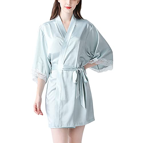 TBATM Batas De Kimono Corto para Mujer, Bata De Satén De Encaje De Seda con Cinturón Y Cuello En V 3/4 Manga Dama De Honor Fiesta De Novia Albornoz para Boda Regalo De Cumpleaños,Azul,M