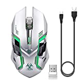 Wireless Gaming Mouse, VEGCOO C8 Silent Click Wireless Rechargeable Mouse with Colorful LED Lights and 2400/1600/1000 DPI 400mah Lithium Battery for Laptop and Computer (C9s Silver)