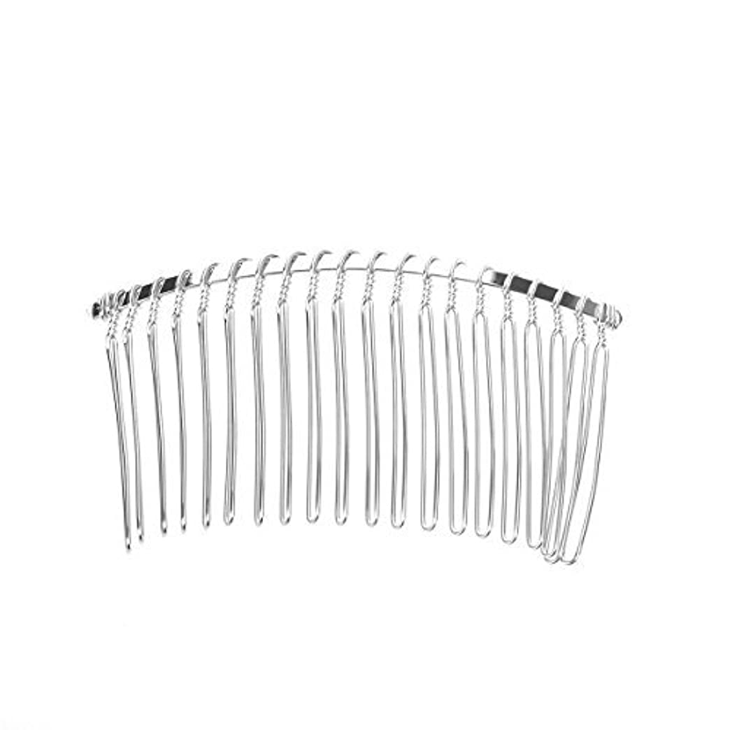 一人で自然公園ナットPixnor 7.8cm 20 Teeth Fancy DIY Metal Wire Hair Clip Comb Bridal Wedding Veil Comb (Silver) [並行輸入品]