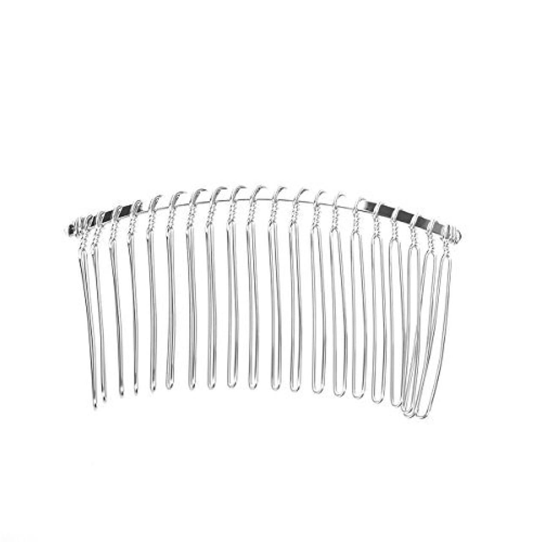 侮辱馬力鳩Pixnor 7.8cm 20 Teeth Fancy DIY Metal Wire Hair Clip Comb Bridal Wedding Veil Comb (Silver) [並行輸入品]