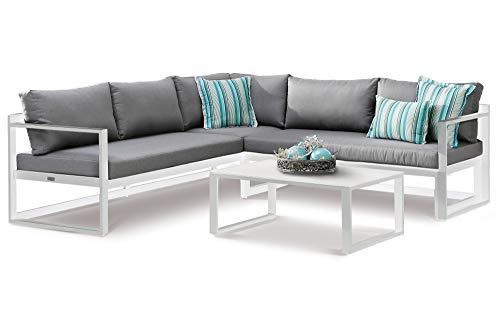 Best Rhodos Loungemöbel, weiß/grau, Alu/Sensotex, 3-TLG. 212 x 212 cm, inkl. Polster