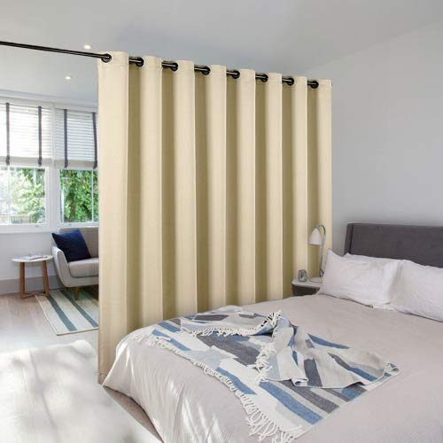 NICETOWN Sound Barrier Room Divider Curtain Screen Partitions, Wide Width Grommet Top Room Dividers Ideas for Office, Loft, Dorm, Hotel, Living Room (Biscotti Beige, 1 Pack, 8ft Tall x 15ft Wide)