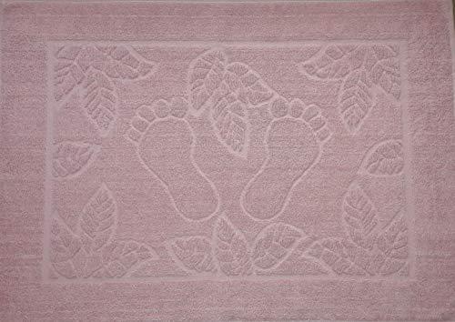 Minfien Footprint Bath Mat Towel, Foot Towel, Hıgh Quality Turkish Cotton, Washable, Reversible (20'' x 28'') (Light Pink)