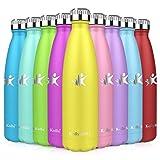 KollyKolla Botella de Agua Acero Inoxidable, Termo Sin BPA Ecológica, Botellas Termica Reutilizable Frascos Térmicos para Niños & Adultos, Deporte, Oficina, Yoga, Ciclismo, (350ml Narciso)