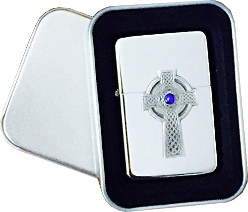 Reallyusefulgifts Chrome Star Lighter with Pewter Celtic Cross with Blue Stone Emblem, Complete with Metal Gift Tin