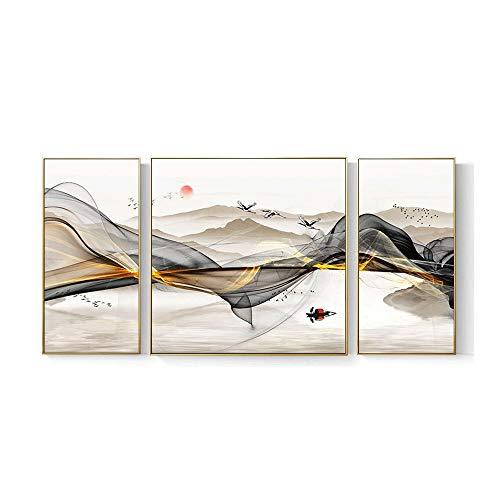 XYZMDJ Sala de Estar nórdica Moderna Pintura Decorativa sofá Fondo Pinturas para Colgar en la Pared Mural Abstracto Pintura de Paisaje Pintura de Porcelana de Cristal