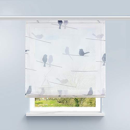 HongYa Raffrollo Voile Gardine Transparente Raffgardine mit Klettschiene Küche Vorhang Kleinfenster H/B 140/60 cm Vogel Muster