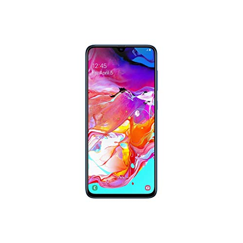 Samsung Galaxy A70 (128GB, 6GB RAM) 6.7' in-Screen Fingerprint, 25W Super-Fast Charger, US + Global 4G LTE GSM Unlocked International Model A705MN/DS (Blue, 128GB + 128GB SD + Case Bundle)