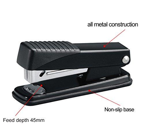 Ktrio Stapler,Office Staplers with 3000 Staples 20 Sheet Capacity Half Strip Ergonomic Metal Stapler for Swingline Staples Bostitch Staples Praxxis Pro Staples Black 2 Pack Photo #2