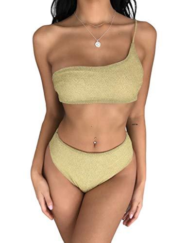 costume da bagno donna oro YiLianDaD Sexy Bikini Set Donna Monospalla Costume da Bagno Imbottito Bikini Spiaggia Glitter Costumi da Bagno Due Pezzi Oro