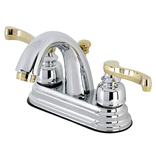 Kingston Brass KB5614FL Vintage 4' Centerset Bathroom Faucet with High Rise Spout, Chrome and Polished Brass