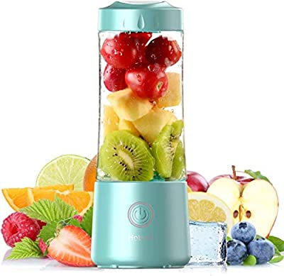 2021 Hotsch Portable Blender, 13.5 Oz Personal Size Juicer Cup for Smoothies and Shakes, USB Rechargeable with Six Blades, for Sports Travel and Outdoors - Blue from M.