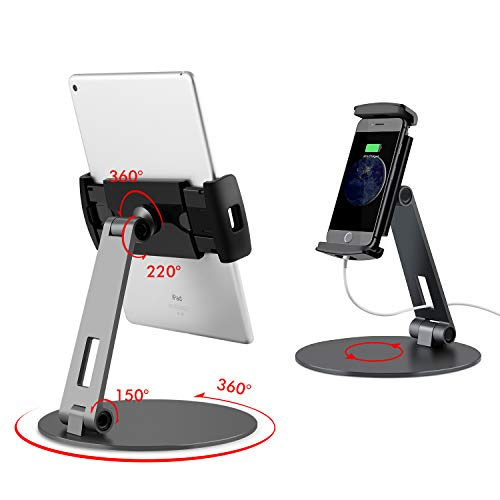 Viozon タブレット スタンド と ホルダー 調整可能 範囲 と ハイト 付 アルミ スタン ド iPad/iPad Pro/iPad Mini/携帯電話/Kindle デス ク ホルダー フィット 3.5-13インチ ⽤ 360° スイベル 調整可能 ベース ブラック