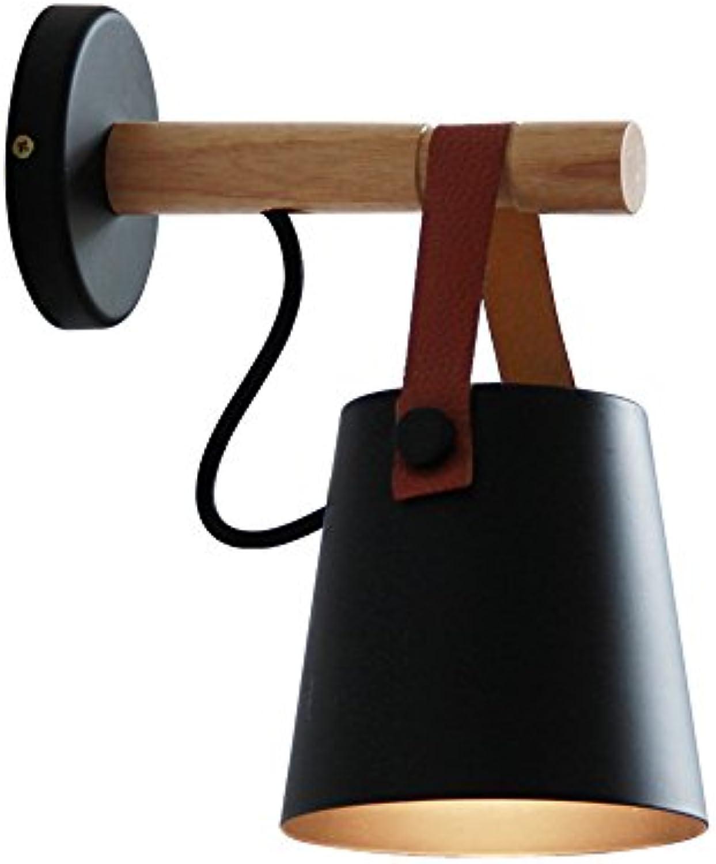 YH E27 American Village Kreativ, Nordic Einfachheit, Gang Studie Bedside Cafe, Schmiedeeisen Gürtel Wandleuchte Classic Design Schwarz Wei, Gre D  13cm, H  22cm A++ (Farbe   SCHWARZ)