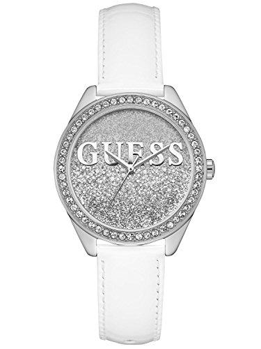 Guess Unisex Erwachsene Datum klassisch Quarz Uhr mit Leder Armband W0823L1
