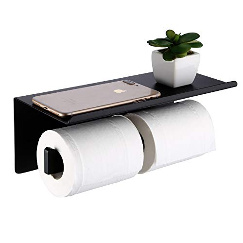 KES Double Toilet Paper Holder with Shelf Wall Mount Dual Toilet Paper Holder Bathroom Stainless Toilet Paper Holder SUS304 Stainless Steel Matte Black, BPH216S2DG-BK