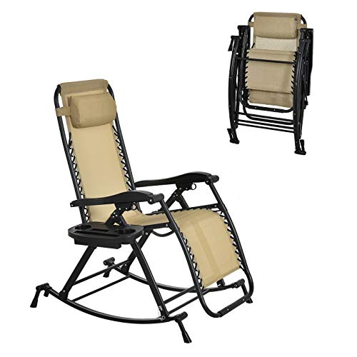 Outsunny Garden Rocking Chair Folding Recliner Outdoor Adjustable Sun Lounger Rocker Zero-Gravity Seat with Headrest Side Holder Patio Deck - Beige