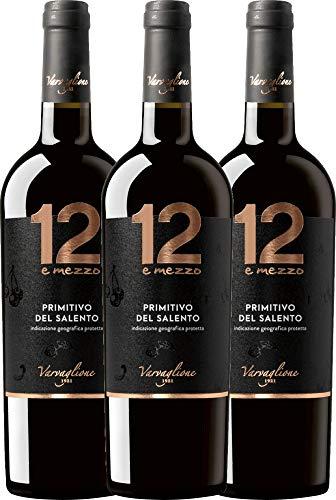 VINELLO 3er Weinpaket Primitivo – 12 e Mezzo Primitivo 2017 – Varvaglione mit Weinausgießer | trockener Rotwein | italienischer Wein aus Apulien | 3 x 0,75 Liter