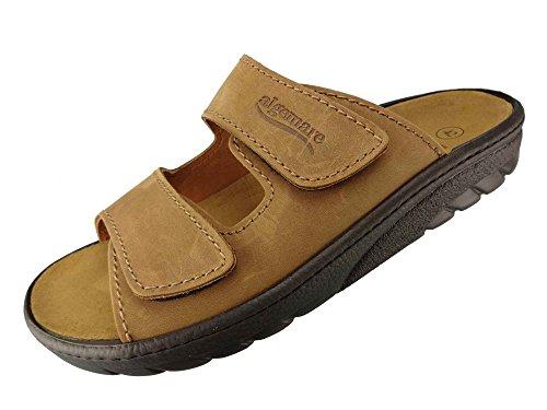 Algemare Herren Pantolette Nubukleder Algen-Kork Wechselfußbett waschbar 7260_4825 Fußbettsandale Sandale, Größe:47 EU