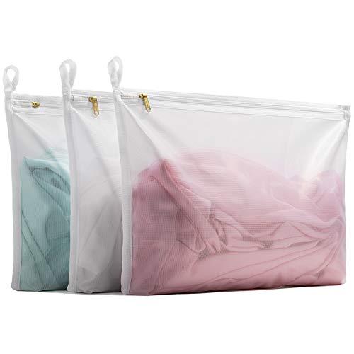 TENRAI Delicates Laundry Bags, Bra Fine Mesh Wash Bag for Underwear, Lingerie, Bra, Pantyhose, Socks, Use YKK Zipper, Have Hanger Loops,((0 Fluorescent Cloth White, 3 Medium, CQS)