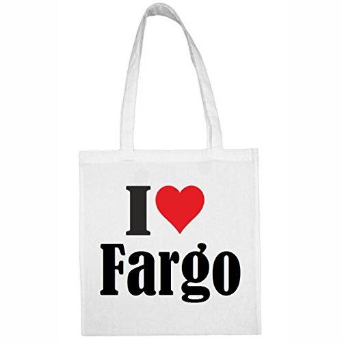 Tasche I Love Fargo Größe 38x42 Farbe Weiss Druck Schwarz