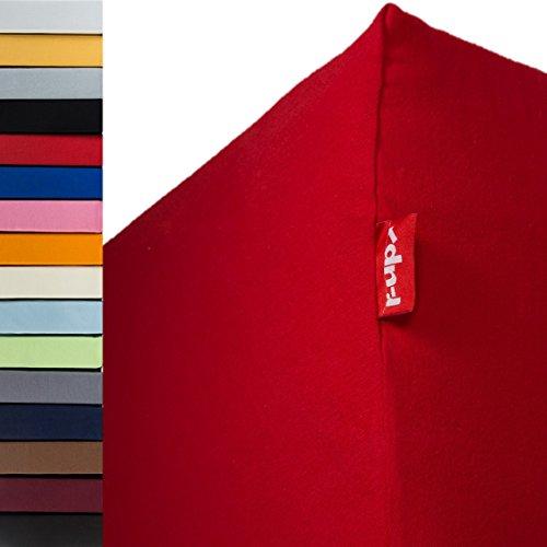 r-up Passt Spannbettlaken 180x200-200x220 bis 35cm Höhe viele Farben 100% Baumwolle 130g/m² Oeko-Tex stressfrei auch für Boxspringbetten (rubinrot)