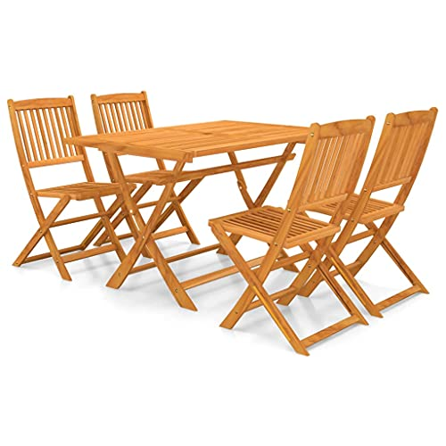 vidaXL Solid Acacia Wood Folding Garden Dining Set 5 Piece Chairs and Table Garden Dining Set Patio Folding Table and Chairs Outdoor Furniture