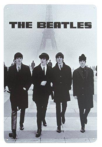 The Beatles Walking in Paris Pancarte murale en métal Boîte Cadeau de bar Plaque en acier (20 x 30 cm)
