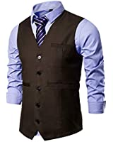 AOYOG Mens Formal Business Suit Vests 5 Buttons Regular Fit Waistcoat for Suit or Tuxedo Brown