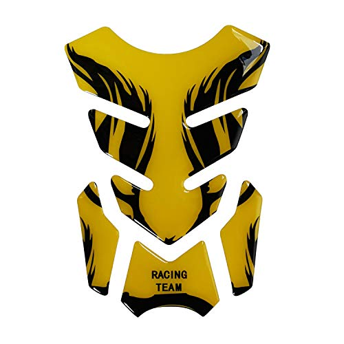Motorcycle Fuel Tank Pads 3D Rubber Tank Protector Gas Oil Fuel Decal and Gel Sticker ATV Vehicles Yellow