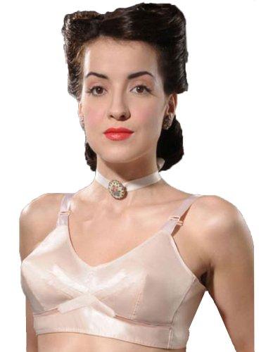 What Katie Did 40er Jahre Vintage Bullet BH ohne Bügel, Satin, Pfirsich 36D UK/36D US/80D EU/95D FR