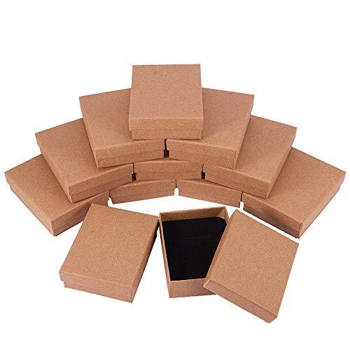 nbeads Schachtel, 12 Stück, 7 × 9 cm, rechteckig, Burlywood Papp-Perlen-Papier, Geschenk-Box für Schmuck, Armband, Halsketten, Basteln, Geburtstag, Weihnachten, Festival, Geschenk, Aufbewahrung