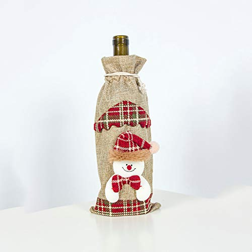 Best Review Of Kiminana Burlap Christmas Bottle Set Drawstring Style Xmas Decorative for Home Holida...