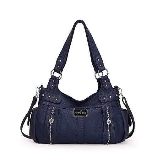 angel kiss Damen Handtasche Lässige Schultertasche Umhängetaschen Hobo Taschen Henkeltaschen Leder für Arbeit Schule Shopper Grau (Blau)