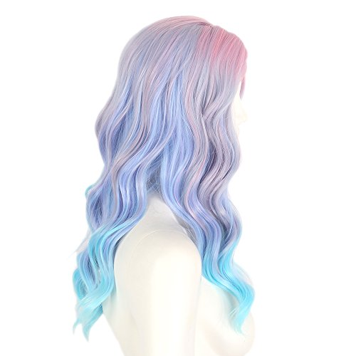 STfantasy Cosplay Licorne Perruque Long Bouclée Rêveuse Mignonne douce Pink Purple Blue Perruques progressives pour les femmes Girl Daily Party Halloween Carnival