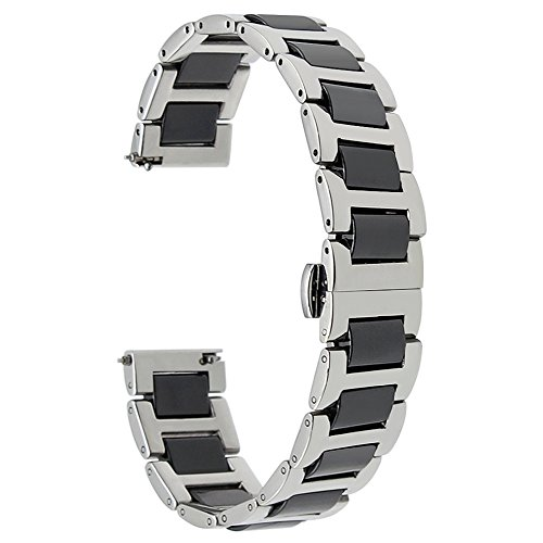 TRUMiRR 22mm Ceramic Watch Band Correa de liberación rápida Todos los Enlaces Desmontable para Samsung Gear S3 Classic Frontier, Samsung Galaxy Watch 46 mm