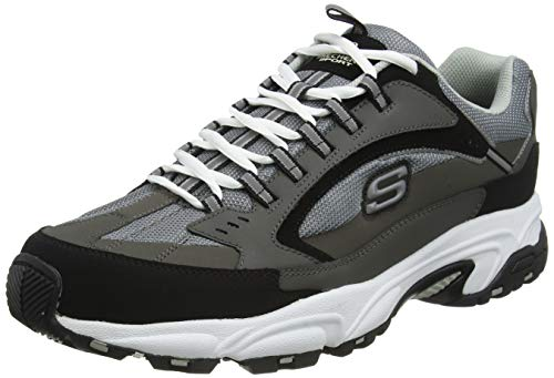 Skechers Stamina-Cutback, Zapatilla Deportiva con Cordones Hombre, Negro (CCBK Black Leather/Gray Mesh/Yellow Trim), 47.5 EU