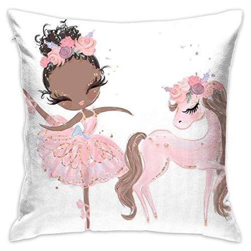 Funny Club - Fundas de almohada de terciopelo, diseño de niña con diseño de unicornio, diseño de flores rosas, 45,7 x 45,7 cm, con cremallera
