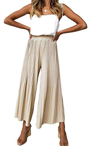 HZSONNE Women's Solid Lightweight Flowy Elastic Waist Lounge Long Draped Ruffle Hem Bell Wide Leg Pants Loose Fit Trousers Khaki