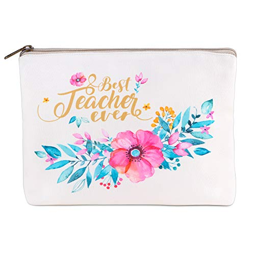 """Hohomark Best Teacher Ever Bags Teacher Appreciation Gifts Bag for Women,7""""x9"""" Makeup Bags Cosmetic Travel Case Toiletry Pouch Pencil Bag with Zipper for Teacher Gifts"""
